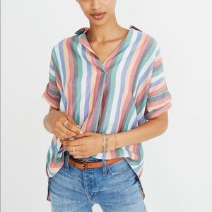 Madewell Courier Button-Back Shirt Festival Stripe